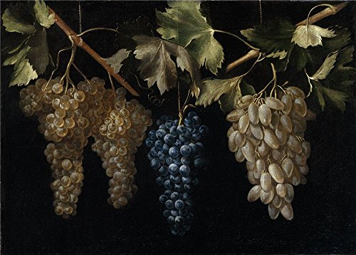 The Polyster Canvas Of Oil Painting 'Fernandez El Labrador Juan Four Bunches Of Grapes Hanging ' ,size: 24 X 34 Inch / 61 X 85 Cm ,this Cheap But High Quality Art Decorative Art Decorative Canvas Prints Is Fit For Laundry Room Gallery Art And Home Decor And Gifts
