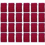 24 Baumwoll-Säckchen, Baumwollbeutel rot, 15 x 10 cm