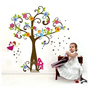 "Ebest - Peel & Stick PVC Wall Decals/Sticker - Fairy Tree, Layout Size 23 5/8 x 35 7/16"" (Can Be Used Again After Peel 0ff)"