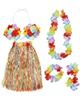 Colorful Hawaiian Tropical Theme Party Hula Luau Grass Dancer Skirt and Bra Set