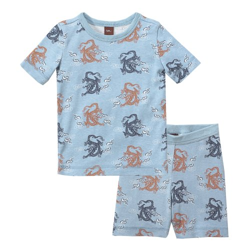 Tea Collection Dragon and Clouds Short Sleeve Sleeper Set, Powder Blue, 12-18 Months