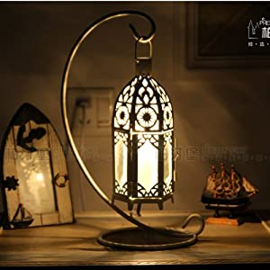 Moroccan Style Table Lights White Metal Hollow Out Metal Box Bed