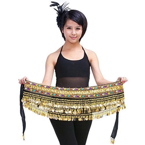 Pilot-trade Lady's Belly Dance Chain Hip Scarf Skirt Costume Wrap Gold Coins Band Gemstone Velvet