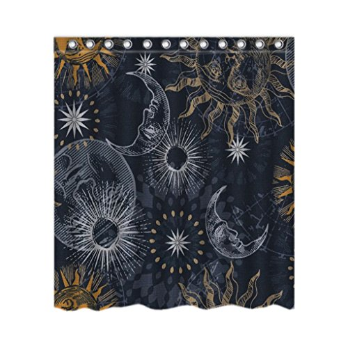 Celestial Sun And Moon Stylish Resistant Antibacterial Bath Waterproof Shower Curtain 66