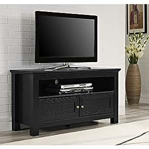 Walker Edison Cortez Wood TV Console, Black