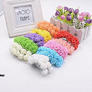 Buy 12pcs foam lace rose handmake artificial flower for Artificial flowers for home decoration india