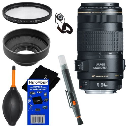 Canon Ef 70-300Mm F/4-5.6 Is Usm Telephoto Zoom Lens For Canon Eos 1D, 1Ds, 1Dx, 5D Mark Ii/Iii, 6D, 7D, 40D, 60D, Eos Rebel Sl1, T1I, T2I, T3, T3I, T4I, T5I, Xs, Xsi, Xt, & Xti Digital Slr Cameras + 6Pc Bundle Accessory Kit