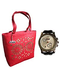 H&H Women HandBag + Watch Combo - Blossom Red Handbag + Premium Silver Heart Watch Black