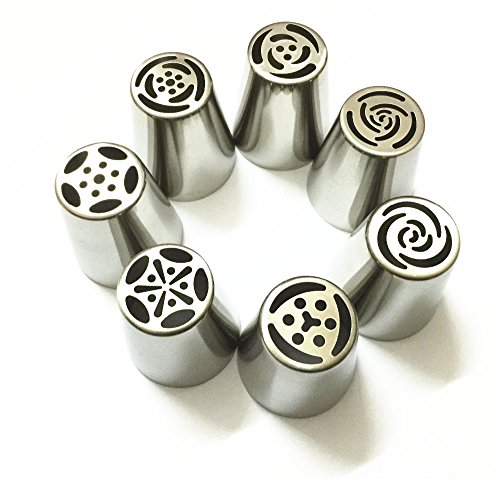 9Snail 7PCS Stainless Steel Russian Tulip Icing Piping Nozzles Pastry Decorating Tips Cake Cupcake Decorator Rose Kitchen Accessories (Pie Decorating Set compare prices)