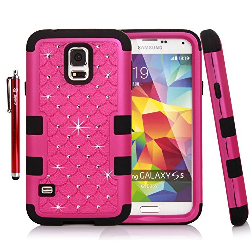 Galaxy S5 Case, Style4U Studded Rhinestone Crystal Bling Hybrid Armor Case Cover for Samsung Galaxy S5 SM-G900 with 1 Case Opening Tool, 1 HD Screen Protector and 1 Stylus [Hot Pink / Black] (Make Your Own Galaxy S5 Case compare prices)