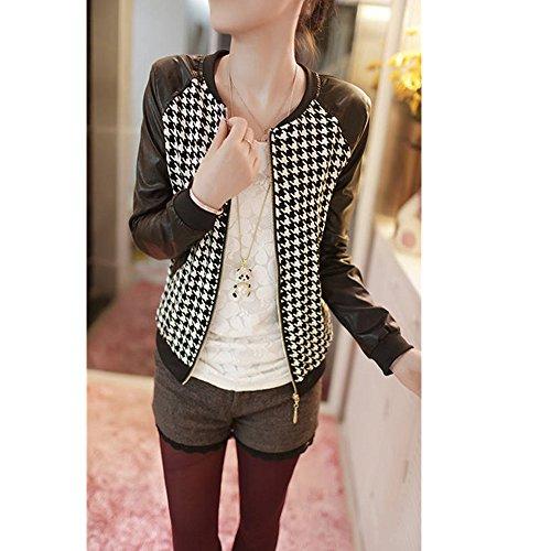 Evtech (TM) da donna stampato a maniche lunghe Casual Cerniera di metallo luce Suit Blazer Giacca Cappotto, Houndstooth, xl