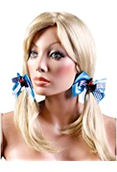 Dorothy Satin And Gingham Hair Bows (Blue/White;One Size)