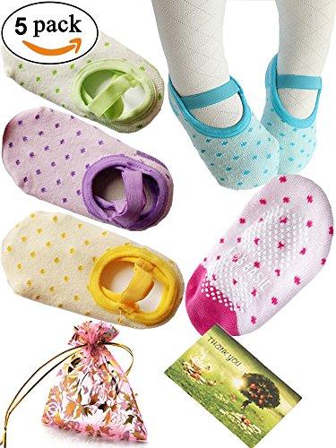 BSâ–' 5 Pairs 8-36 Months Baby Girl Toddler Anti Slip Skid foot Socks + Gift bag + Gift Card, Stripes No-Show Crew Boat Socks Footsocks sneakers, 9-15cm