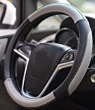Mayco Bell Car Steering Wheel Cover 15 inch Comfort Durability Safety (Black Gray)