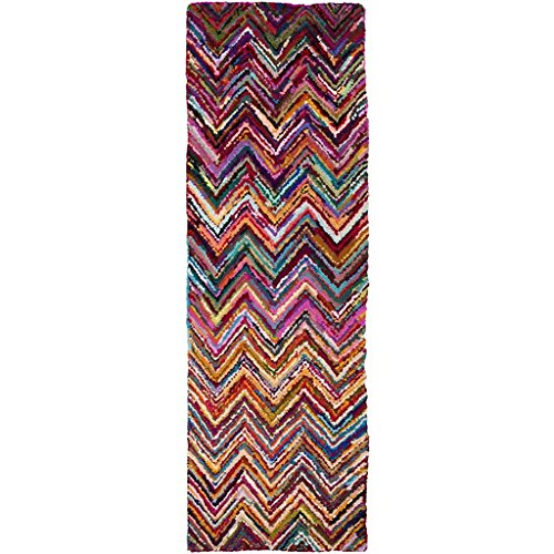 2.5' X 8' Electric Chevrons Magenta Pink, Cornsilk Yellow And Sea Blue Hand Hooked Area Throw Rug Runner