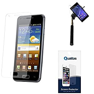 Qualitas Pack of 11 Matte Screen Protector for Samsung Galaxy S Duos S7582 + Selfie Stick Monopod with Aux (No Battery Needed)