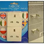 2 PC PIECE EUROPEAN PLUG TRAVEL ADAPT...