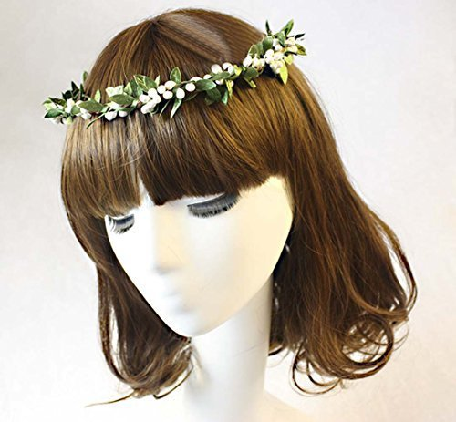 Retro Green Leaf Rattan White Artificial Berries Flower Girl Headpiece Headband Hairband Head Wreath DIY Floral Bridal Garland Crown Halo Wedding Hair Accessories for Hippies Bridesmaid Bride Holiday Party Photography Props