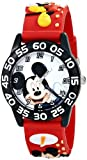 Disney Kids' W001519 Time Teacher Mickey Mouse Watch With Red 3-D Plastic Band