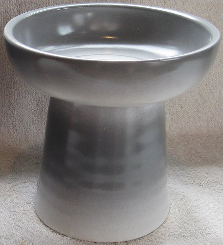 Raised Stoneware Dry Food or Water Bowl - Frost Gray