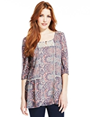 Indigo Collection Paisley Tile Print Boho Blouse with Camisole