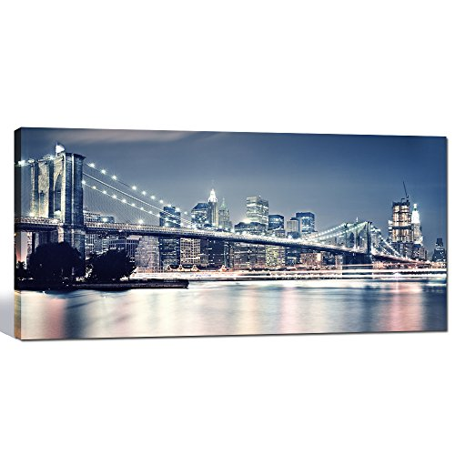 Sea Charm - Large Modern Canvas Wall Art 20x40 Inches,brooklyn Bridge Poster,new York Night Landmark Picture Print,gallery Wrapped Ready to Hang (New York Brooklyn Bridge Poster compare prices)