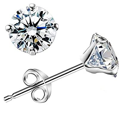 925 Silver 6mm Diamond Round Cut Cubic Zirconia (CZ) Stud Earrings - White / Clear - Beckham Style