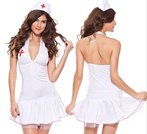 Halloween costumi cosplay sexy lingerie infermiera uniforme tentazione , white , m