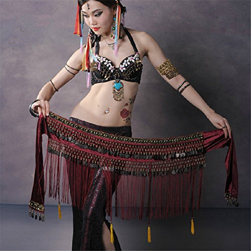 SNW Belly Dance Hip Skirt Scarf Wrap Belt Costume with Rows Coins Tassels Wrap Skirt Waistband Dance Costume Stage Performance Party Dance Clothing Sportswear Belly Dance Practice Wear Practice Costume as a gift