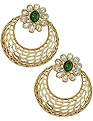 The Jewelbox Kundan Green Gold Plated Antique Finish Jaali Chaand Bali Earring For Women