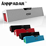 Annpadar(TM) Bookshelf Furnishings / Computer Desk / Outdoor / Wireless Bluetooth Speaker Built-In Mic FM Radio Alarm Clock AUX Input USB TF Card LED Time Display For Samsung iPhone iPad Nokia HTC Tablets PC Notebook & Up to 16 Hours of Playtime (Black)