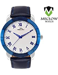 Good Quality Leather Blue Belt Round White Designer Dial Analog Watches For Men Boys By Meclow