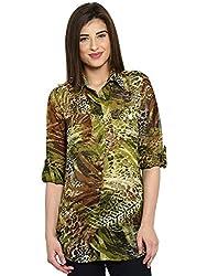 Ladybug Womens Loose Fitting Printed Shirt - Green Print