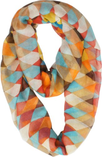 Vivian & Vincent Soft Light Weight Colorful Rhombus Sheer Infinity Scarf (White/Azure/Brown)