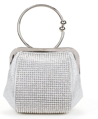 Elegant Wristlet Clutch Purse with Rhinestone Panel and Metallic Look