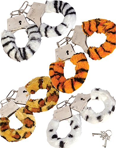 Set of 12 Fuzzy Safari Animal Print Furry Handcuffs