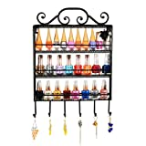 Black Metal Wall Mounted 3 Shelf 6 Hanger Hooks Nail Polish Holder / Jewelry Hanger