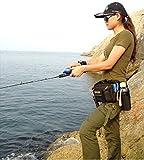 フィッシング バッグ 釣り用 ヒップ バック ショルダー 2way 多機能 収納 (ブラック)