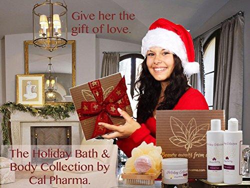 Bath Gift Sets For Women 6-Piece Winterberry Collection With Body Lotion, Shower Gel, Sugar Scrub, Loofah Bath Sponge, Bath Bomb, and Scrub Brush