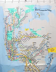Travel Destinations - VINYL Shower Curtain - NYC Subway Map