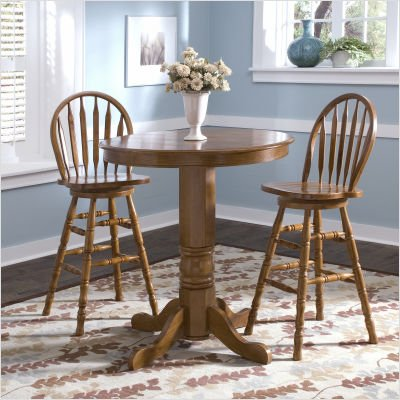 LibertyFurniture 10-PUB42 / 10-PUB42B / 10-B553 Nostalgia Casual Dining 3 Piece Round Pub Table Set with Arrow Back Barstools in Medium Oak