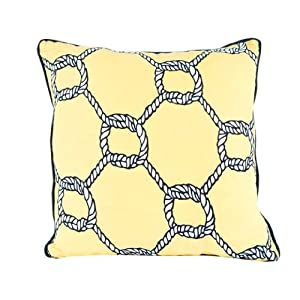 Room Service Nautical Collection Nautical Rope Pillow, 20-inch x 20-inch, Yellow/Navy Blue/White