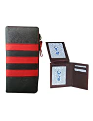 Style 98 Valentine's Day Special Men And Womens Clutch And Wallet Combo Pack (Brown And Black/Red)