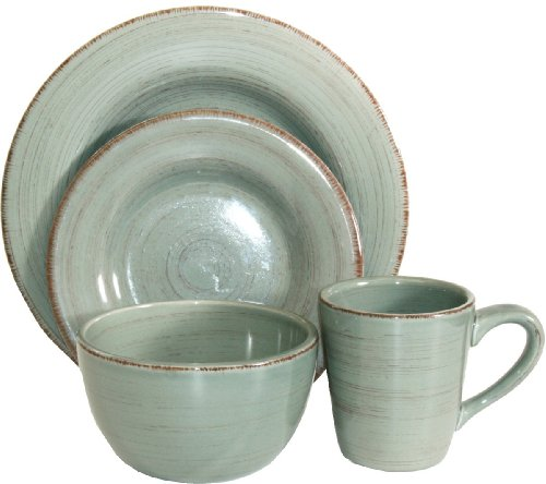Tag Sonoma Ironstone Ceramic 16-Piece Dinnerware Set, Service for 4, Slate Blue