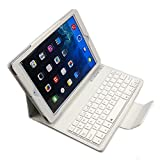Ultra-Thin Magnetic Flip Smart Cover Case Stand Leather Case with Detachable Bluetooth Keyboard with Auto Sleep and Wake Function For Apple iPad Air/iPad Air 2 - White