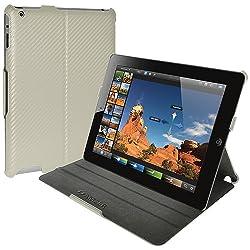 Amzer 93525 Shell Portfolio Case - White Carbon Fiber Texture for Apple iPad 4 with Retina Display, Apple iPad 3, Apple iPad 4