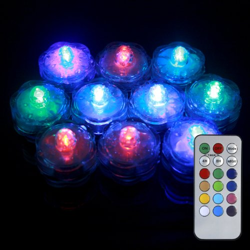 Color-changing Submersible LED Flower Tea Lights with Remote - 10 Pack, vases, water features, fountains