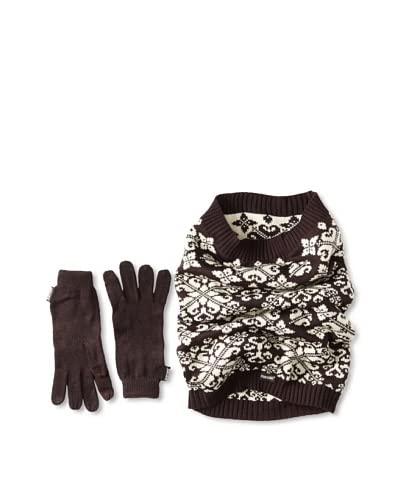 MUK LUKS Women's Swirly Scrolls Funnel Scarf & Tech Gloves Set, Eggplant