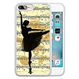 SSCase design Vintage Ballet Sketch music Silhouette Painting Illustration Ballerina Soft Plastic Protected Case for iPhone 7 plus - White