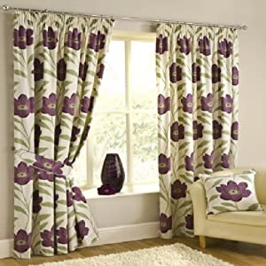 """Superb High Quality 100% Cotton Purple Plum Cream Poppy Pencil Pleat Lined Curtains 46"""" X 54"""" Oul by PCJ SUPPLIES"""